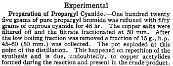 Propargyl cyanide explosion
